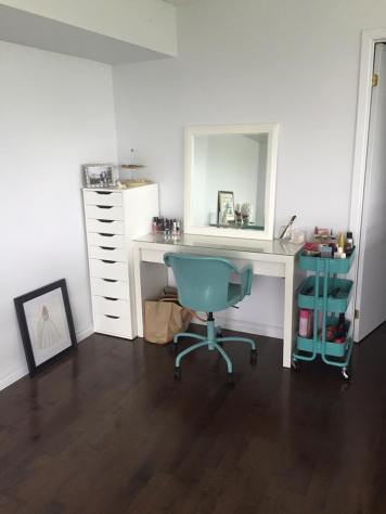 Drawer set, Chair, Bar Cart, and Vanity all from IKEA